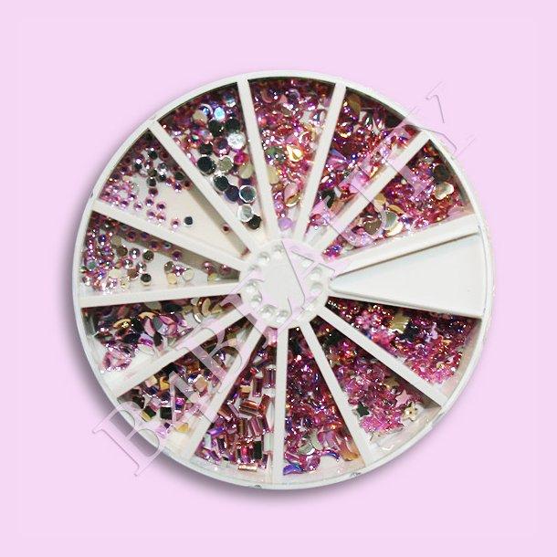 Pink · 12 Former 720 stk. · Rhinestone · Nail Art