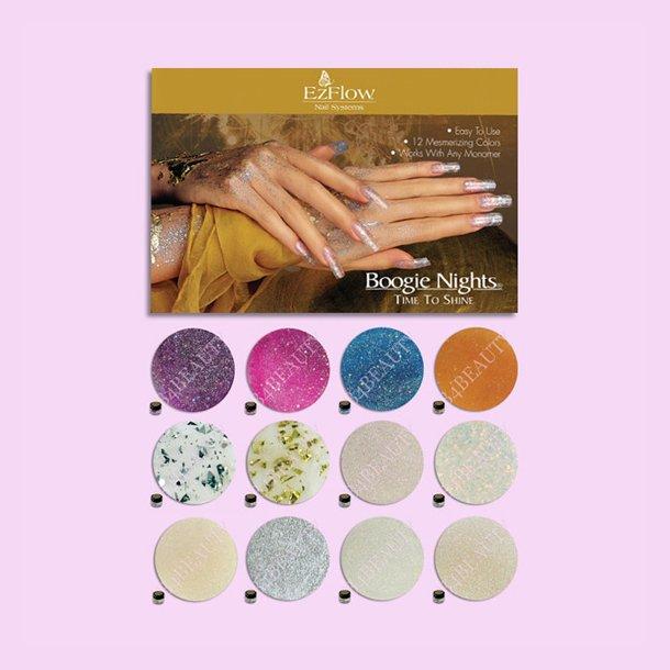 Time To Shine Kit 12 stk. · Farvede Akryl Pulver · EzFlow